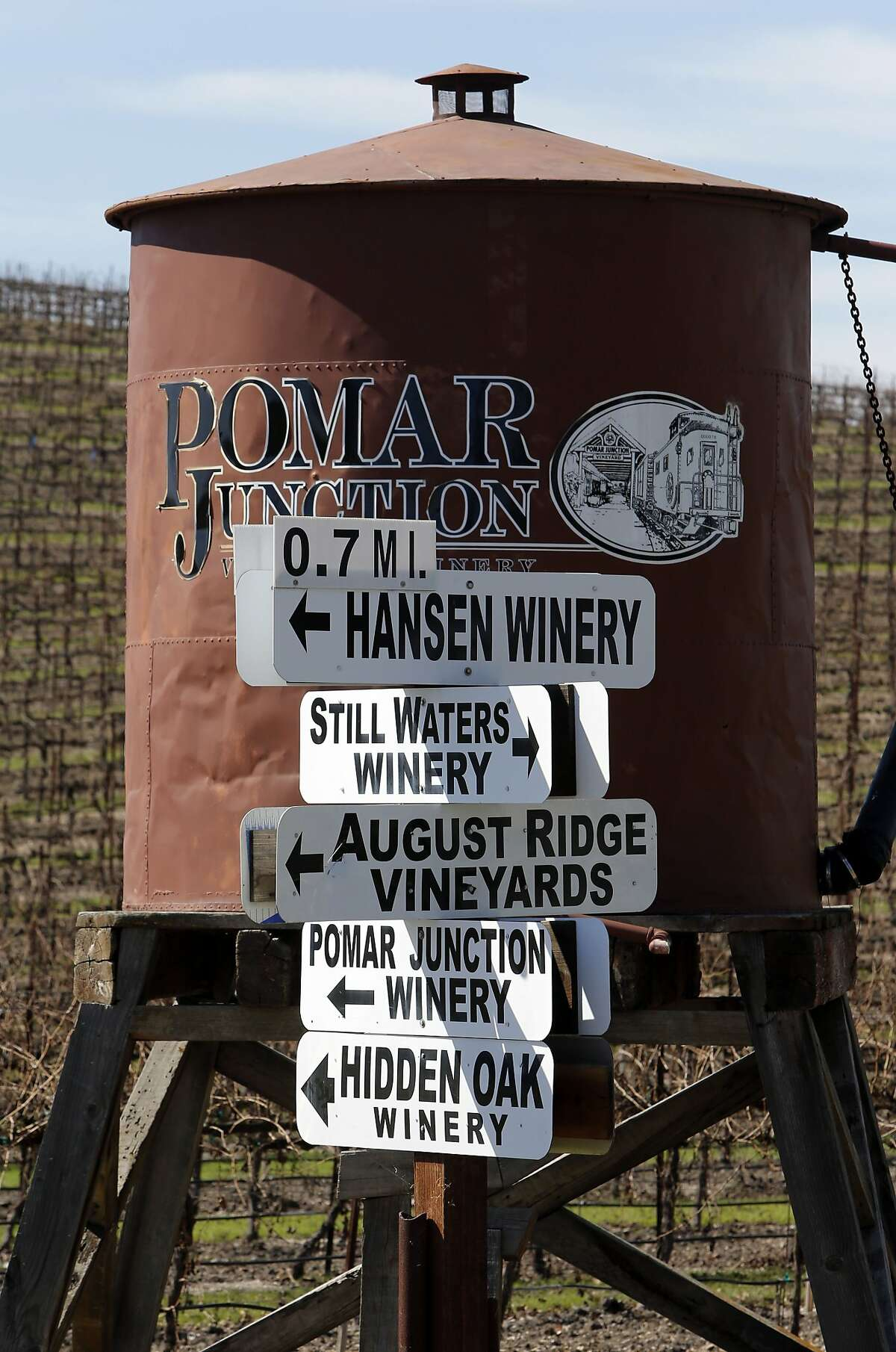 Just some of the many wineries that dot the hills surrounding Templeton, Calif. south of Paso Robles, as seen on Friday March 14, 2014. With the current drought a bitter water fight between rural homeowners and large wineries has splintered Paso Robles and surrounding communities.