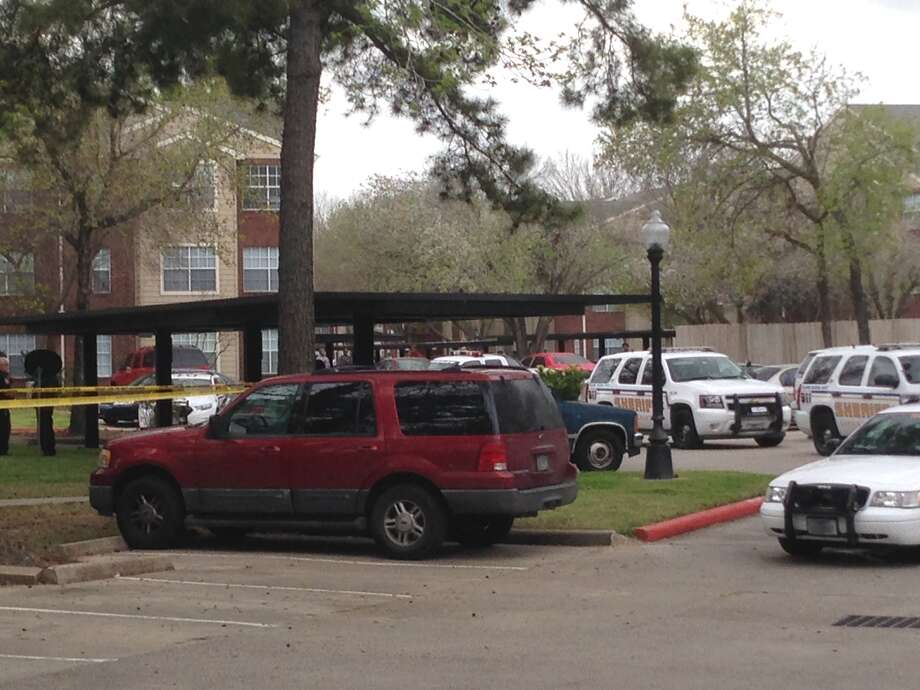The fatal shooting happened Friday afternoon at the Trails at Dominion Park apartments on Dominion Park Drive in north Harris. Photo: Mike Glenn, Chronicle