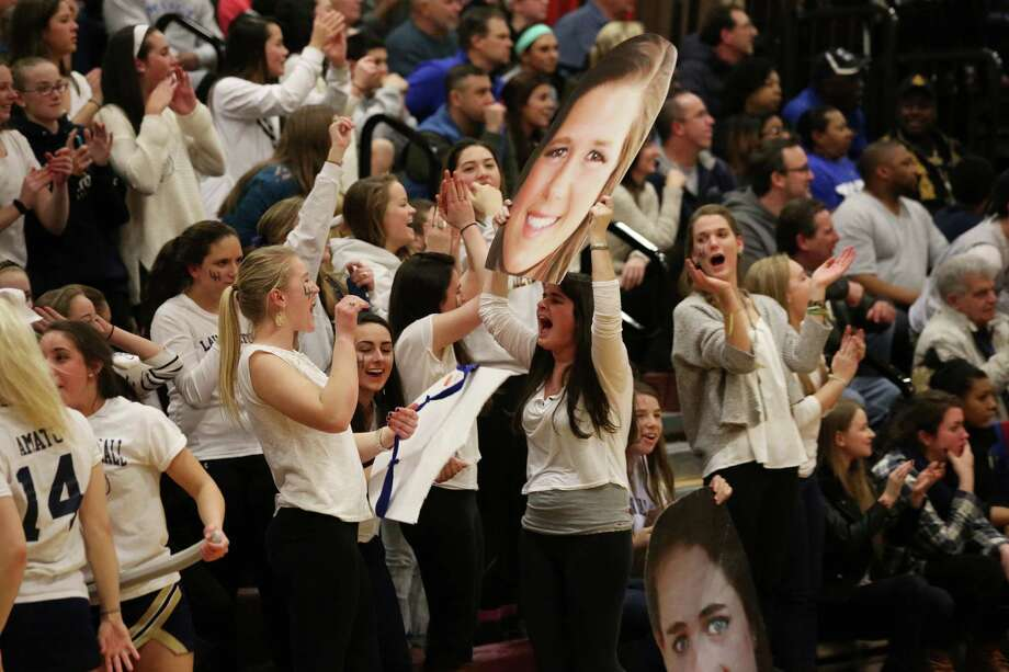 Lauralton Hall students cheer on for Lauralton Hall's #10 Carly Fabbri during Friday evening Class LL semi-finals against Mercy of Middletown.  Lauralton Hall would win 52-43. Photo: Mike Ross / Mike Ross Connecticut Post freelance - @www.mikerossphoto.com