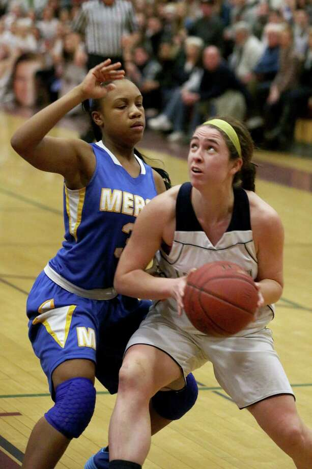 Lauralton Hall of Milford's #15 Maureen Connolly looks to go to the basket against Mercy of Middletown's #3 Destine Perry during Friday evening Class LL semi-finals. Lauralton Hall would win 52-43. Photo: Mike Ross / Mike Ross Connecticut Post freelance - @www.mikerossphoto.com