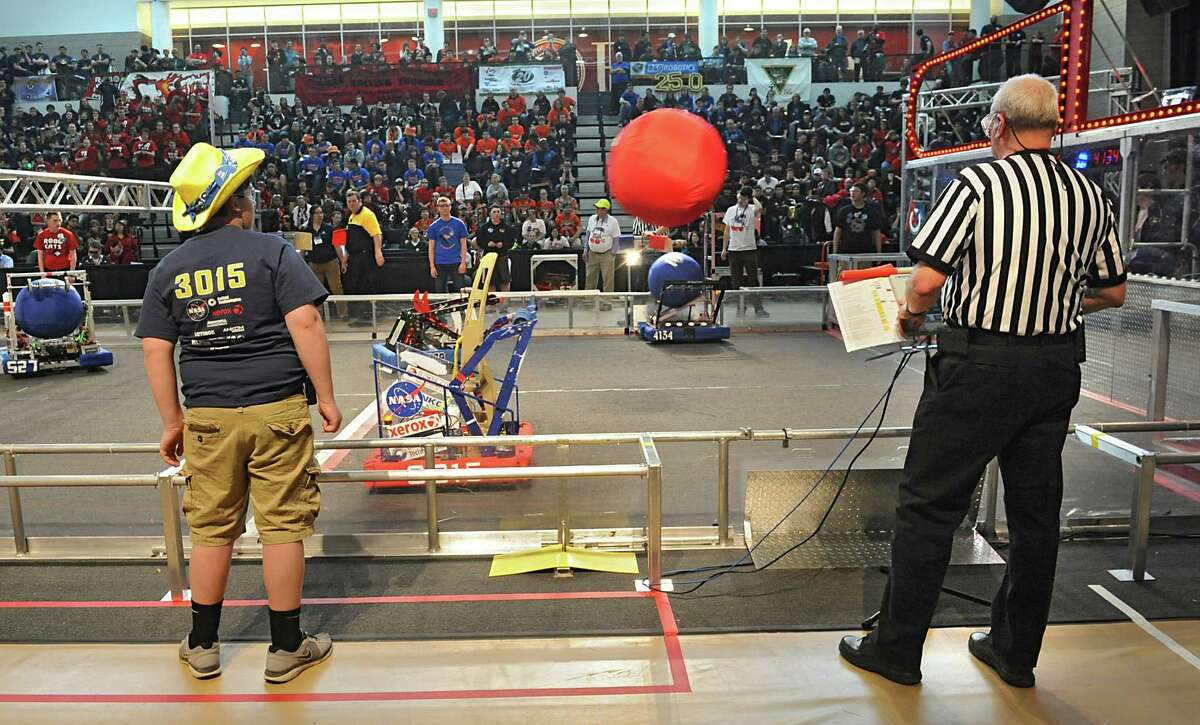 High school robotics teams compete in the New York Tech Valley Regional FIRST Robotics Competition held at RPI on Friday, March 14, 2014 in Troy, N.Y. Winners of this competition will go on to the championship in St. Louis. (Lori Van Buren / Times Union)