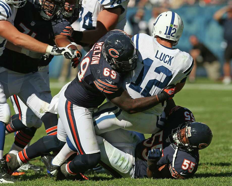 Ex-Texas and Bears DT Henry Melton (69), sacking Colts QB Andrew Luck, plans to visit the Cowboys. Photo: Jonathan Daniel / Getty Images / 2012 Getty Images