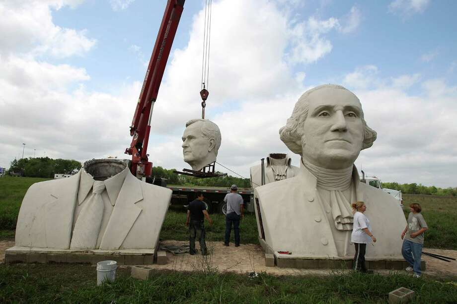The bust of George H.W. Bush was one of six relocated by RWS Crane & Rigging to the artist's studio property in Houston. Photo: Nick De La Torre, Staff / Houston Chronicle