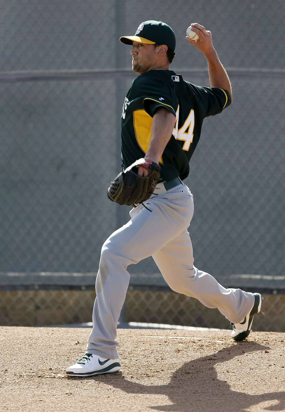A's pitcher Luke Gregerson, (44) throws during practice drills at the Papago Baseball Facility in Phoenix, Arizona on Tuesday Feb. 18, 2014. Major League Baseball's Oakland Athletics continue their spring training in the Arizona Desert in preparation for the upcoming season.