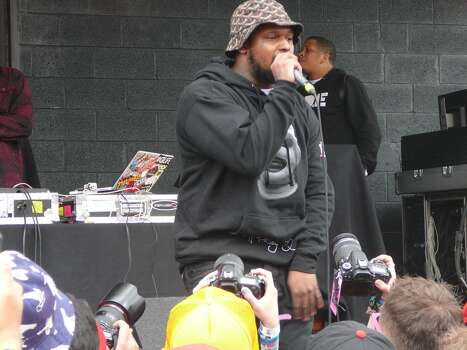 Rapper Schoolboy Q let everyone know he has the No. 1 album in the country at the Spin party.