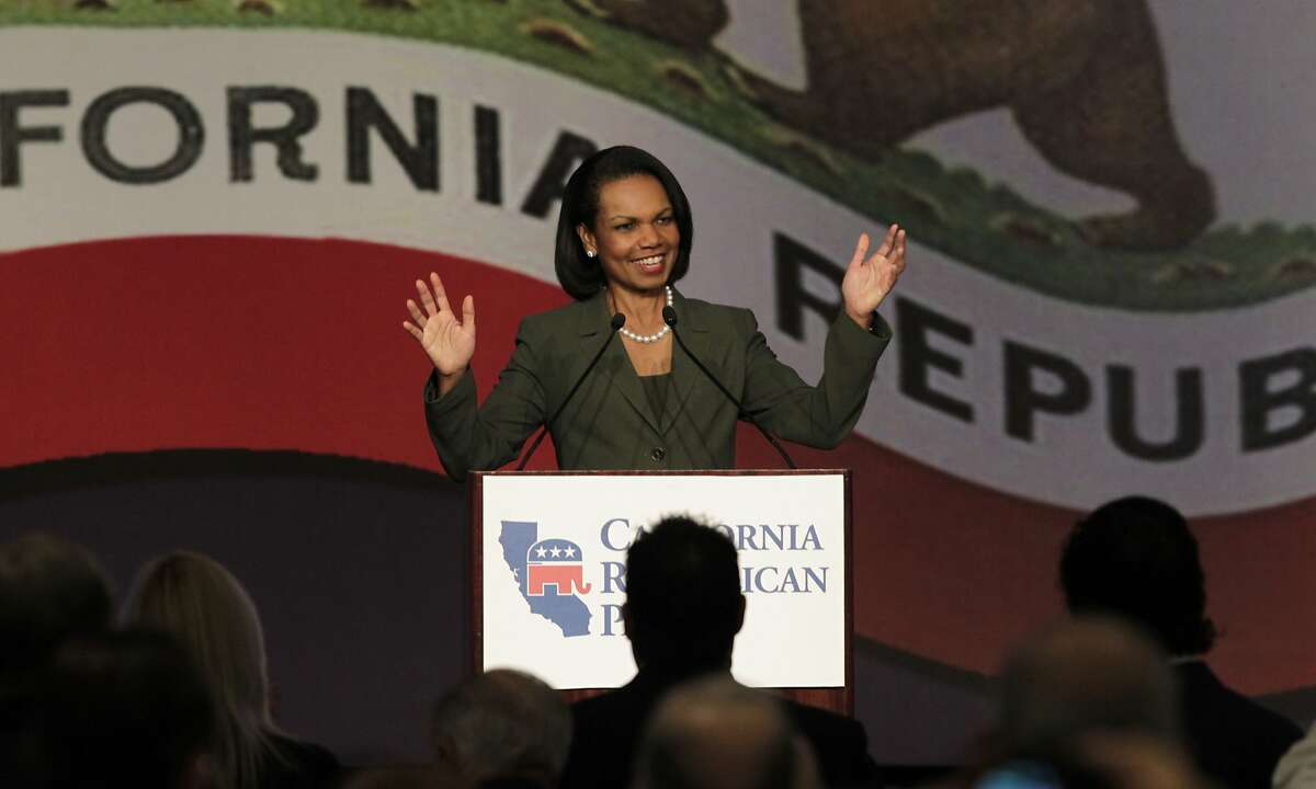Former Secretary of State Condoleezza Rice delivers the keynote speech at the California Republican Party spring convention in Burlingame, Calif. on Saturday, March 15, 2014.