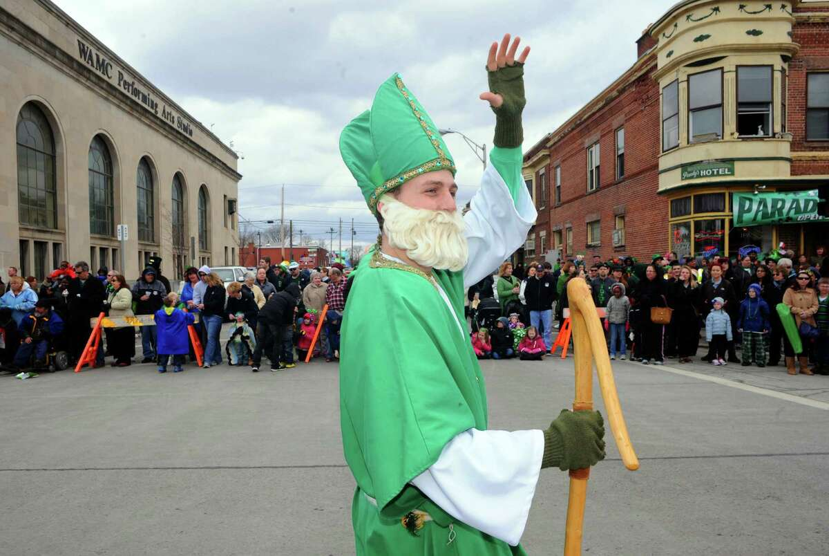 Connor Stark portrays St. Patrick as he marches in the 64th Annual Albany St Patrick's Day Parade on Saturday March 15, 2014 in Albany, N.Y. (Michael P. Farrell/Times Union)