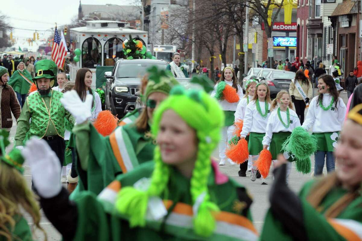 A contingent from Menands march in the 64th Annual Albany St Patrick's Day Parade on Saturday March 15, 2014 in Albany, N.Y. (Michael P. Farrell/Times Union)