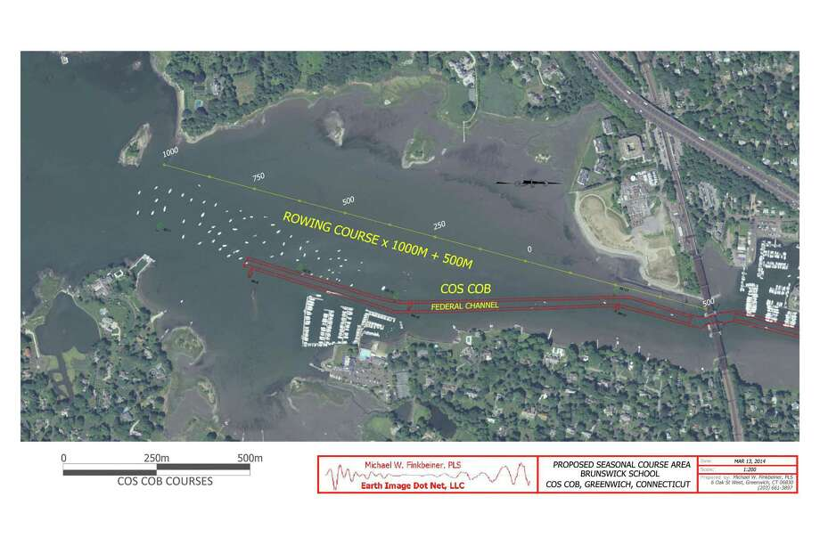 An aerial rendering of the proposed 1,000- and 1,500-meter rowing courses in Cos Cob Harbor that run west of the Riverside Yacht Club mooring field and along Copper Tree Farm on Mead Point. Photo: Contributed Photo, Earthimage.net/Contributed Photo / Greenwich Time Contributed