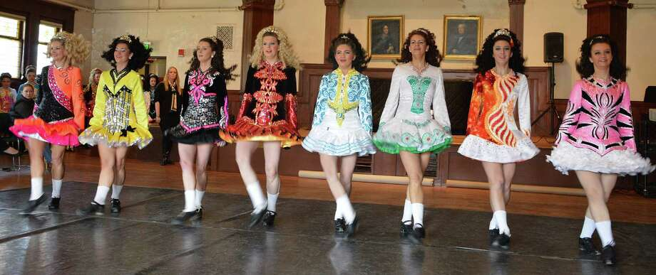 Members of the Lenihan Dancers troupe perform traditional Irish dances Saturday at the Pequot Library. Photo: Jarret Liotta / Fairfield Citizen