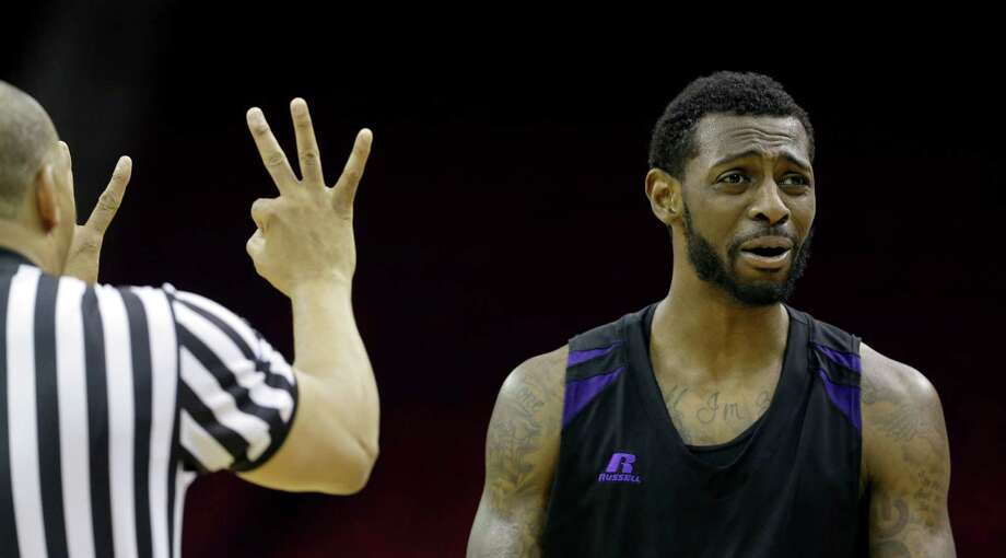 Prairie View A&M's Demondre Chapman reacts as he is called for a foul against Texas Southern during the first half of an NCAA college basketball game in the championship of the Southwestern Athletic Conference tournament Saturday, March 15, 2014, in Houston. (AP Photo/David J. Phillip) Photo: David J. Phillip, Associated Press / AP