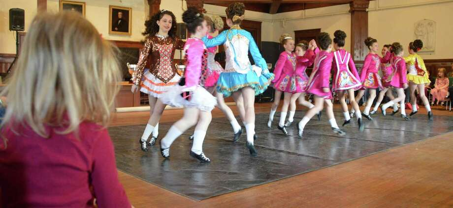 A large crowd was on hand Saturday to watch the Lenihan dancers perform traditional Irish dance at the Pequot Library. Photo: Jarret Liotta / Fairfield Citizen