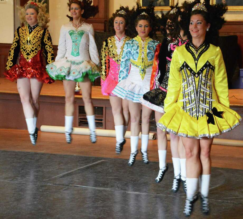 High-steppin' into the St. Patrick's Day holiday, members of the Lenihan School of Dance troupe gave a spirited performance Saturday at the Pequot Library. Photo: Jarret Liotta / Fairfield Citizen