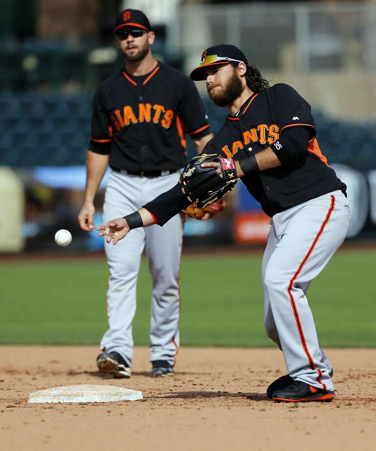 Giants shortstop Brandon Crawford made it to the big leagues on the strength of his defense, but this season, he is hoping to prove he also can be a consistent force with the bat. Photo: Michael Macor, The Chronicle