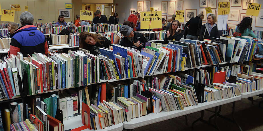 Thousands of books, hard cover and paperback, were on offer at the Westport Library's four-day March Book Sale. Photo: Mike Lauterborn / Westport News