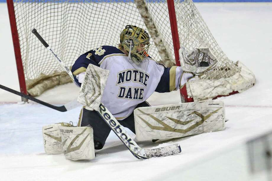 Notre Dame of Fairfield's goalie # Zach Bouve makes a save during Saturday evening CIAC State Tournament against East Haven High School at Ingallis Rink in New Haven. Photo: Mike Ross / Mike Ross Connecticut Post freelance -www.mikerossphoto.com