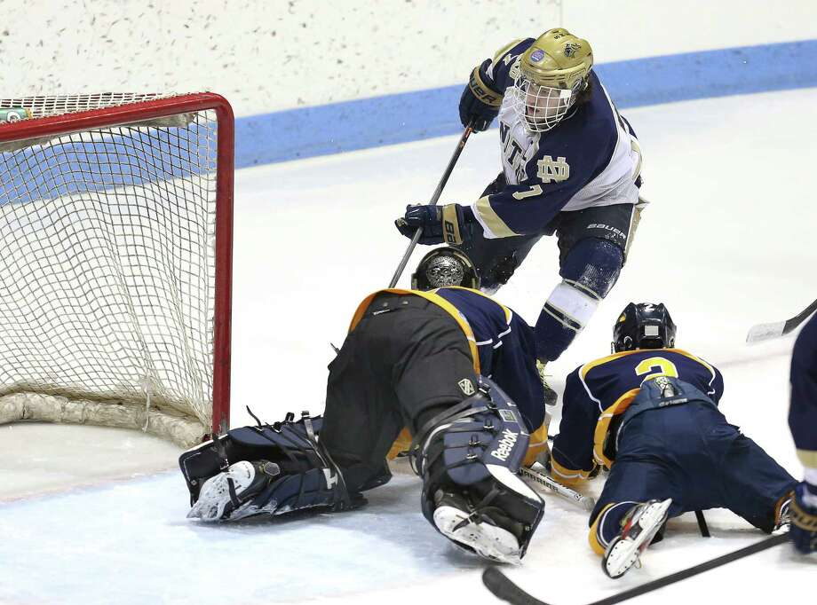 Notre Dame of Fairfield's #23 Jonny Suporn scores a goal over East Haven High School during Saturday evening CIAC State Tournament. Photo: Mike Ross / Mike Ross Connecticut Post freelance -www.mikerossphoto.com