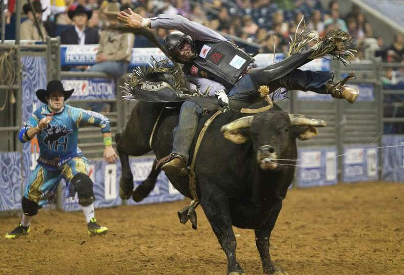 Cody Teel competes in the BP Super Series IV Championship Round Bull Riding competition during Houst