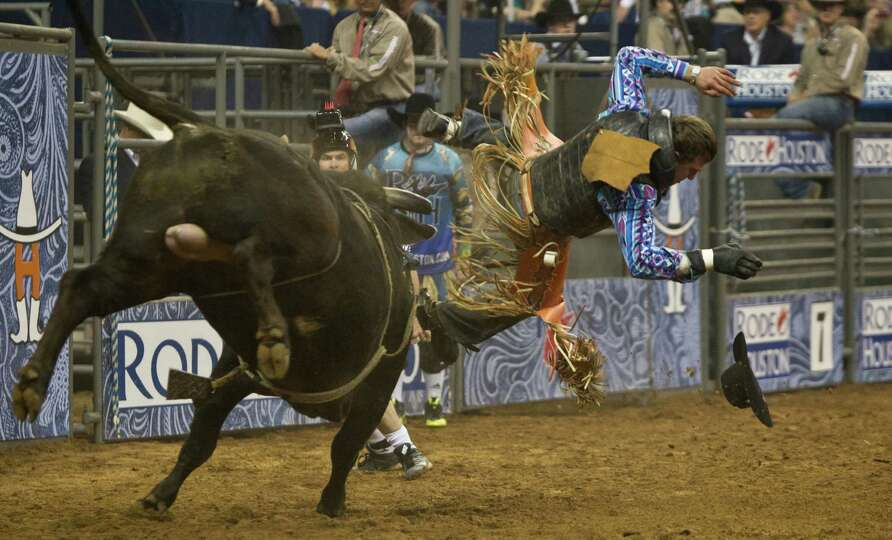 Reid Barker competes in the BP Super Series IV Championship Round Bull Riding competition during Hou