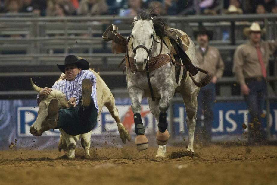 Olin Hannum competes in the BP Super Series IV Championship Round Steer Wrestling competition during Houston Livestock Show and Rodeo at Reliant Stadium on Saturday, March 15, 2014, in Houston. Photo: Marie D. De Jesús, Houston Chronicle / © 2014 Houston Chronicle