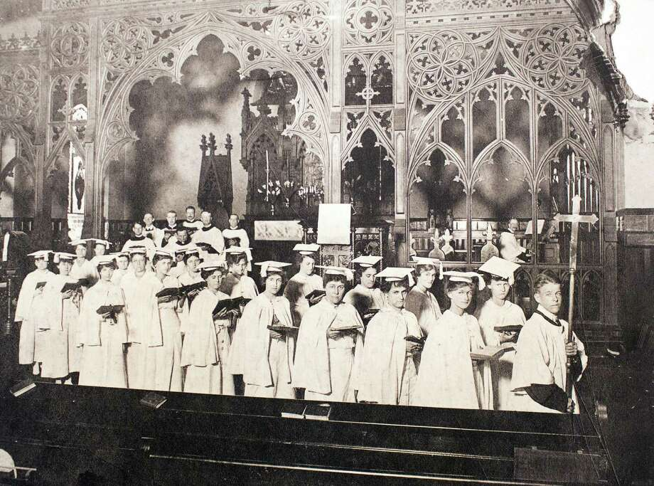 Choir procession following service conducted by Dr. James P. DeWolfe, Houston Chronicle, November 24, 1935, March 13, 2014 in Houston on display at Treebeards. Photo: Photos Courtesey Of Christ Church Cathedral / Eric Kayne
