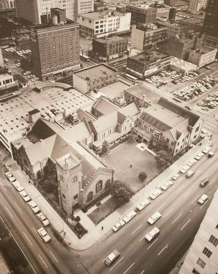 Aerial view of the cathedral complex circa 1960's, March 13, 2014 in Houston on display at Treebeards. Photo: Photos Courtesey Of Christ Church Cathedral / Eric Kayne