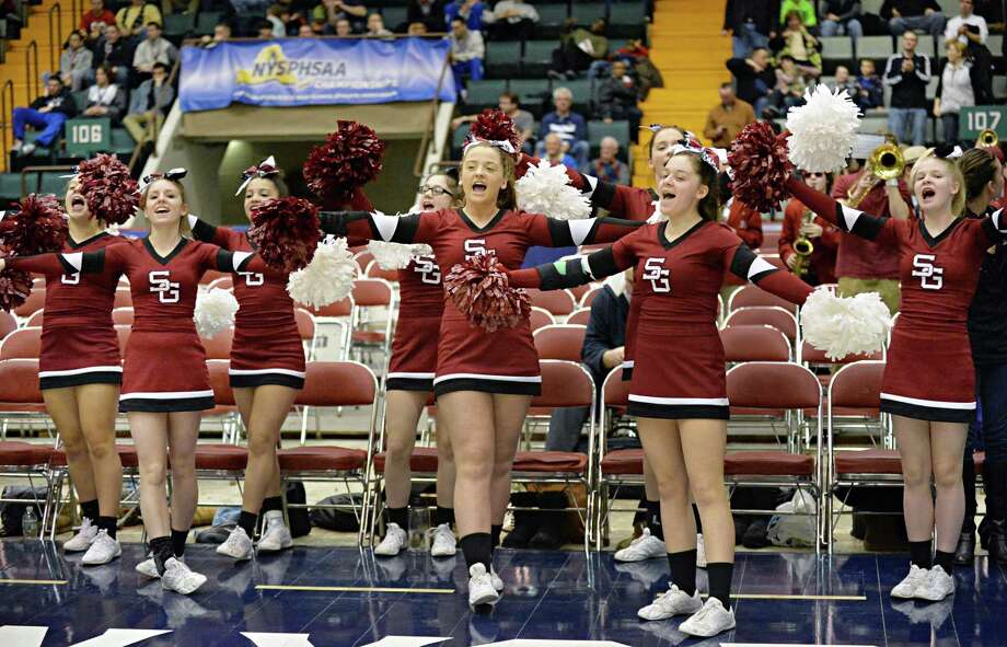Scotia cheerleaders urge on their team during their semifinal game against John Glenn March 15, 2014, in Glens Falls, NY.  (John Carl D'Annibale / Times Union) Photo: John Carl D'Annibale / 00026138A