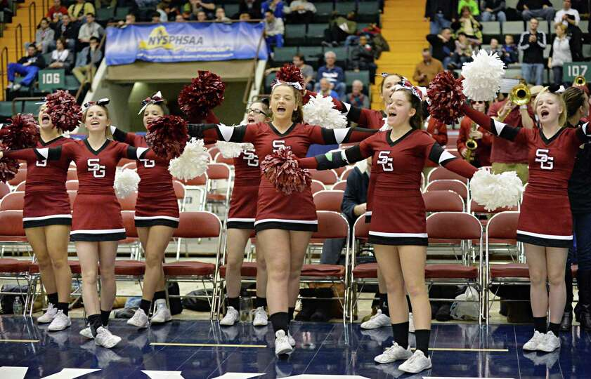 Scotia cheerleaders urge on their team during their semifinal game against John Glenn March 15, 2014