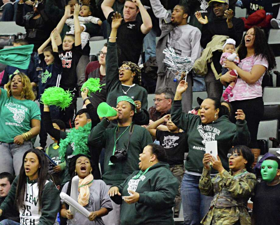 Green Tech cheer on their team playing against Brentwood in the Class AA boys' basketball semifinal Saturday March 15, 2014, in Glens Falls, NY.  (John Carl D'Annibale / Times Union) Photo: John Carl D'Annibale / 00026139A