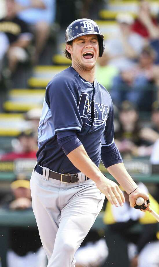 Tampa Bay right fielder Wil Myers winces in pain after hitting a foul ball into his right leg in the third inning against Pittsburgh. The Rays won 6-3, but Myers had to leave the game. Photo: Will Vragovic / McClatchy-Tribune News Service / Tampa Bay Times