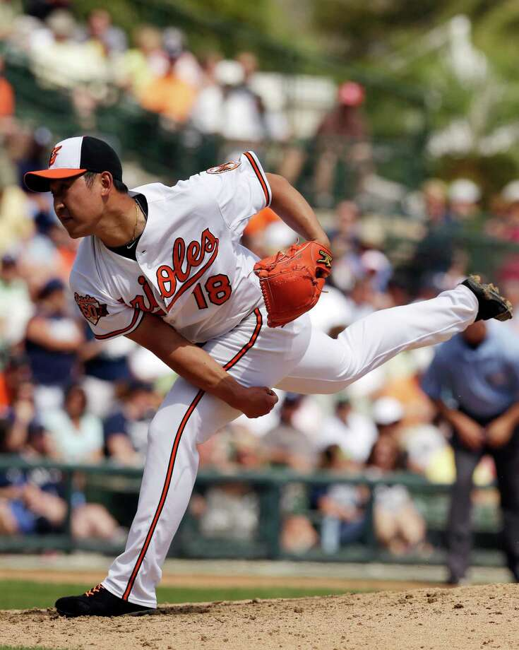 Baltimore Orioles starting pitcher Suk-min Yoon, of South Korea, throws during the seventh inning of a spring exhibition baseball game against the New York Yankees in Sarasota, Fla., Saturday, March 15, 2014. (AP Photo/Carlos Osorio) ORG XMIT: FLCO412 Photo: Carlos Osorio / AP