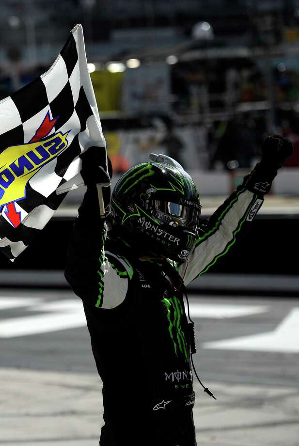 Kyle Busch celebrates after winning the Nationwide Drive to Stop Diabetes 300 at Bristol Motor Speedway on Saturday. Photo: Jared C. Tilton / Getty Images / 2014 Getty Images