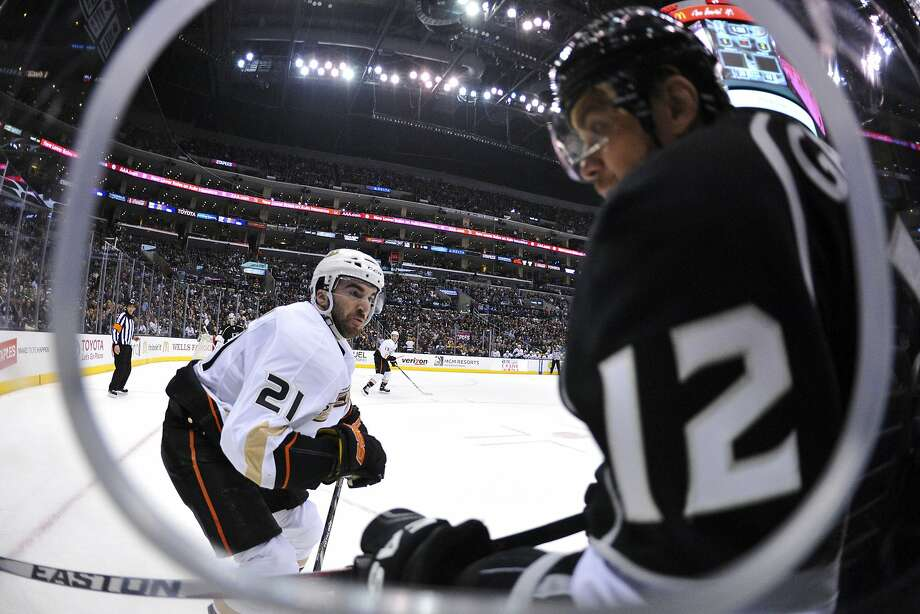 The Ducks' Kyle Palmieri prepares for contact with Kings right wing Marian Gaborik in the second period. Photo: Andrew Fielding, Reuters