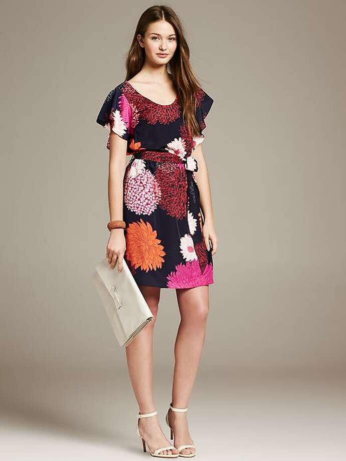 Bold Floral Flutter-Sleeve Dress, $130, BananaRepublic Photo: Banana Republic