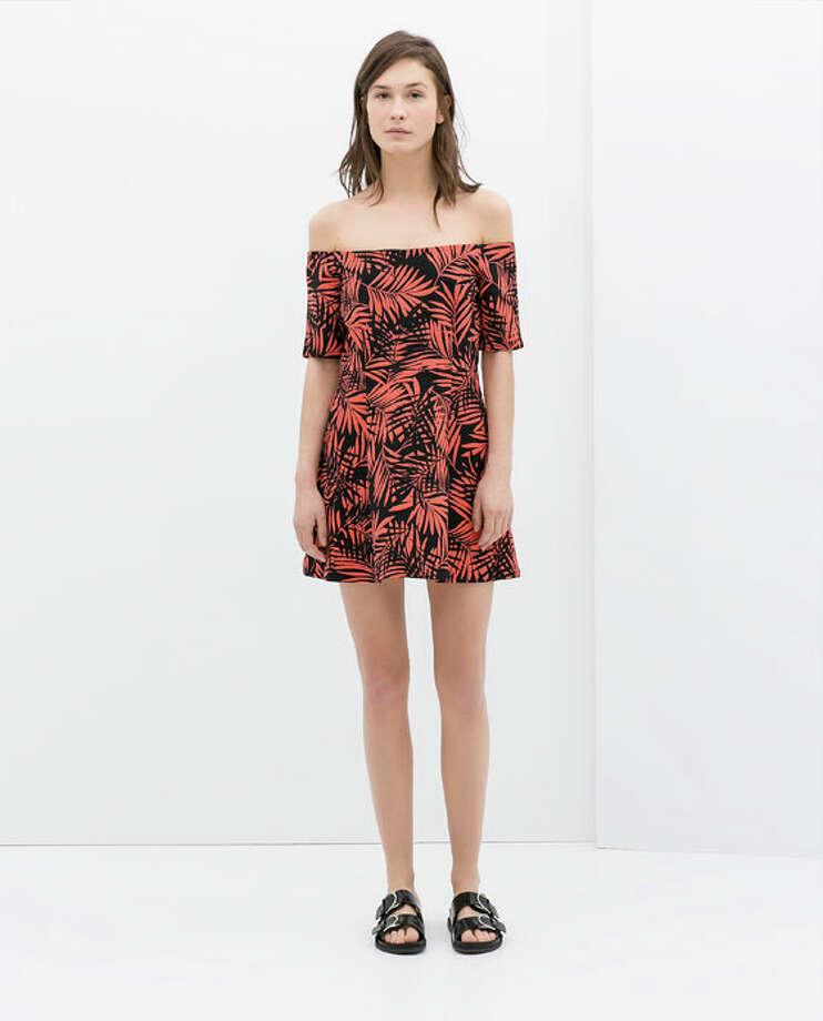 Printed Off-Shoulder Dress, $79, Zara Photo: Zara