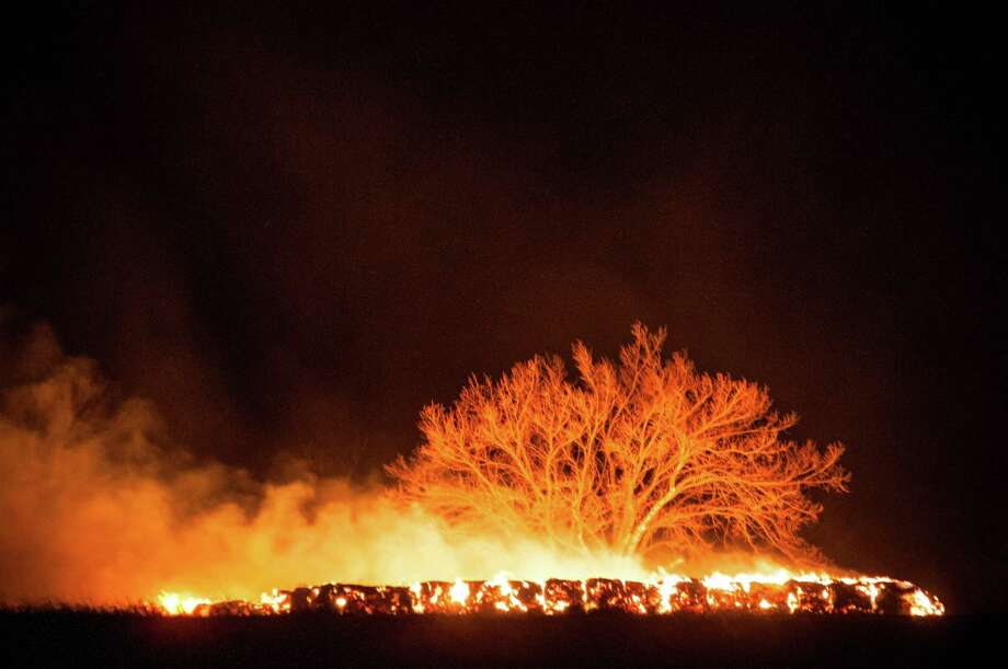 Burning hay bales illuminate a tree as fire crews in Lyon County battle a grassfire just west of Emporia, Kan., Tuesday, March 11, 2014. The fire, caused by embers from a controlled burn earlier in the afternoon, started late on the evening of March 11, and burned into the early hours of the next day. Photo: Dustin Michelson, AP / (Dustin Michelson/Gazette)