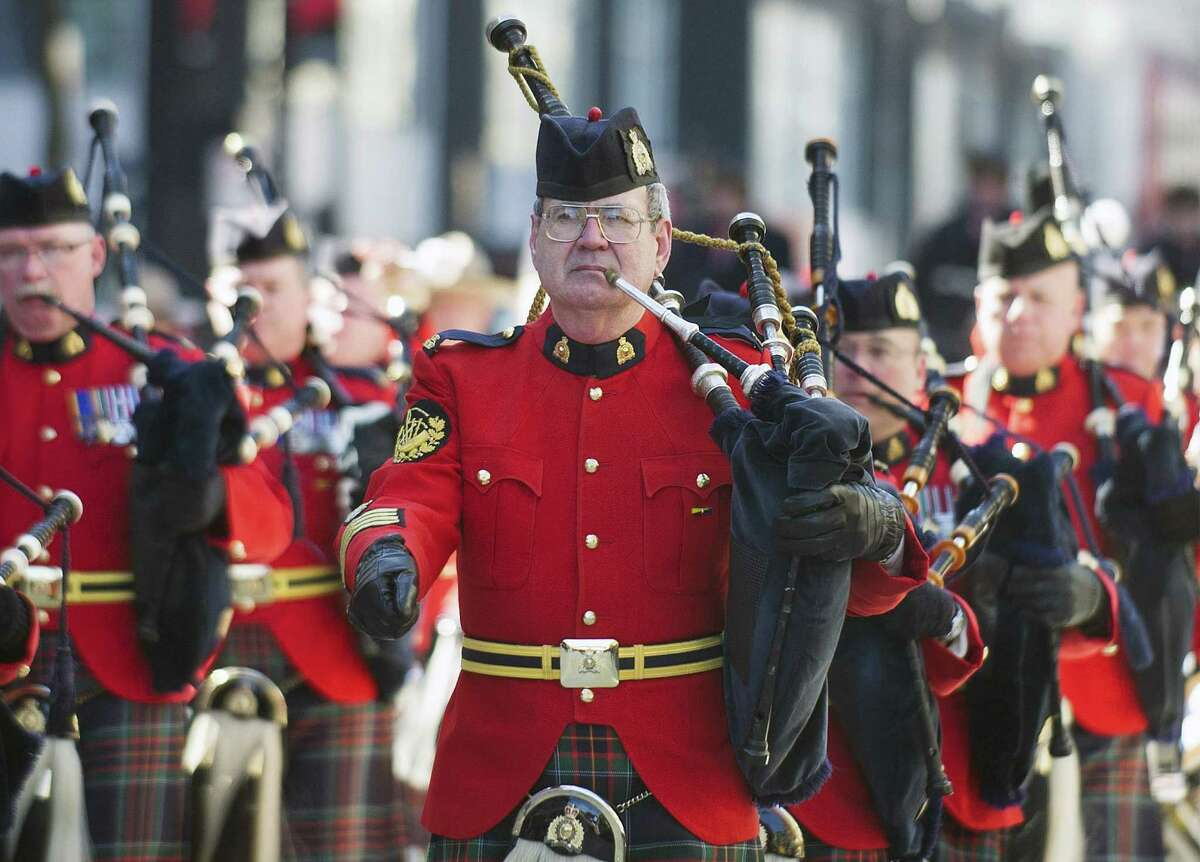 A band performs during during the annual St. Patrick's Day parade in Montreal, Sunday, March 16, 2014. (AP Photo/The Canadian Press, Graham Hughes)