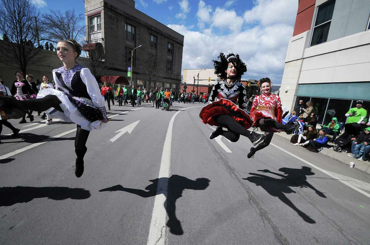 Dancers with the Gallagher School of Irish Dancing perform during the 53rd Scranton St. Patrick's Day Parade held in downtown Scranton, Pa. on Saturday, March 15, 2014. (AP Photo/The Scranton Times-Tribune, Butch Comegys)