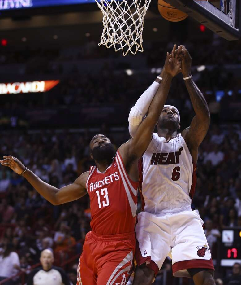 March 16: Heat 113, Rockets 104James Harden tries to block LeBron James. Photo: J Pat Carter, Associated Press
