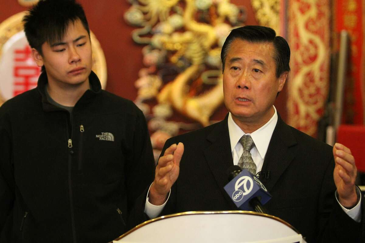 With purported eyewitness Andy Li by his side, San Francisco mayoral candidate State Sen. Leland Yee, D-San Franicsco, talks about alleged voting fraud by acting San Francisco Mayor and fellow mayoral candidate Ed Lee during a news conference on Monday, Oct. 24, 2001, in San Francisco, Calif.