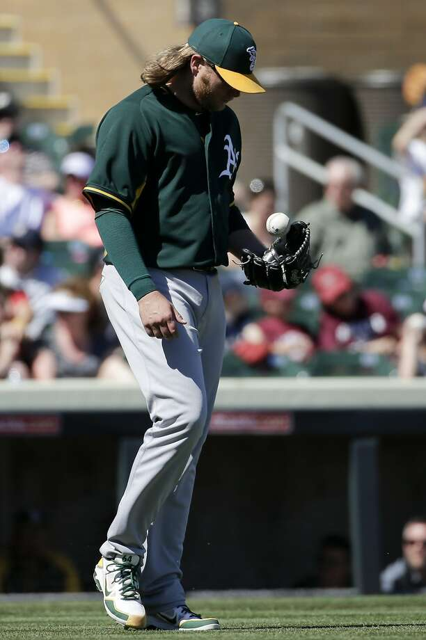 Oakland Athletics starting pitcher A.J. Griffin walks back to the mount after giving up the third run against the Colorado Rockies during the first  inning of a spring training baseball game in Scottsdale, Ariz., Saturday, March 8, 2014. (AP Photo/Chris Carlson) Photo: Chris Carlson, Associated Press