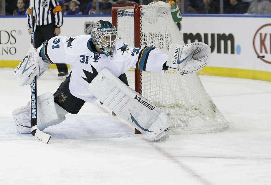 Antti Niemi got his 27th career shutout, but needed help from a video review. Photo: Frank Franklin II, Associated Press