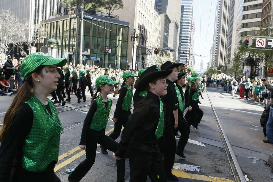 An Irish dance group performs during the St. Patrick's Day Parade on March 15, 2014 in San Francisco, Calif. The 163rd annual parade ran from down a packed 2nd Street and Market to the Civic Center with dozens of floats. Photo: Codi Mills, The Chronicle