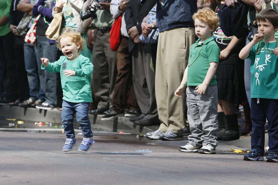 Fiona Hale, 2, dances during the St. Patrick's Day Parade on March 15, 2014 in San Francisco, Calif. The 163rd annual parade ran from down a packed 2nd Street and Market to the Civic Center with dozens of floats. Photo: Codi Mills, The Chronicle