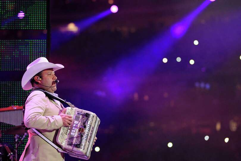 Beto Zapata with the group Pesado performs during Rodeo Houston at Reliant Stadium  Sunday, March 16