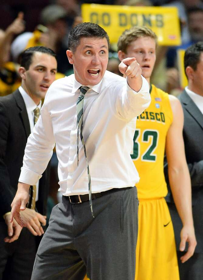Rex Walters, reacting during the semifinals of the WCC tourney, says getting a bid to the NIT offers some validation for an improving program at USF. The Dons will host LSU in the first round. Photo: Ethan Miller, Getty Images