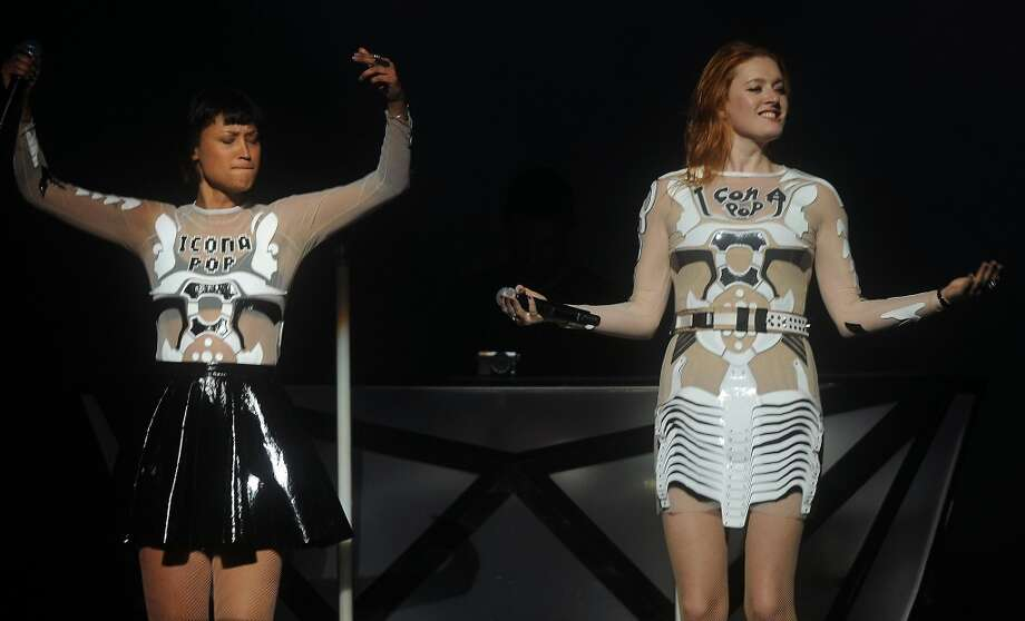 Icona Pop opens the show for Miley Cyrus at the Toyota Center Sunday March 16, 2014. (Dave Rossman/For the Chronicle
