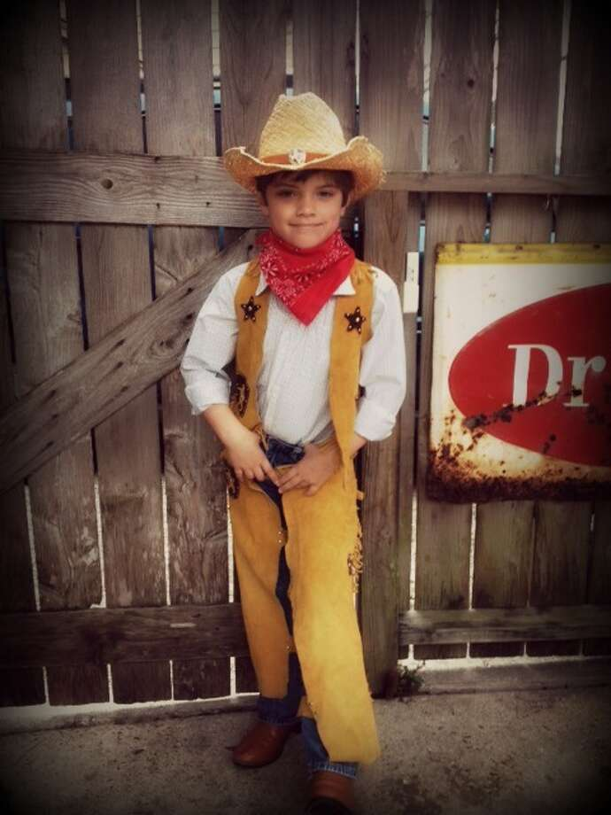 Cameron Chambers, age 7 wearing his best cowboy 'getup' for Go Texan Day!Marji Chambers