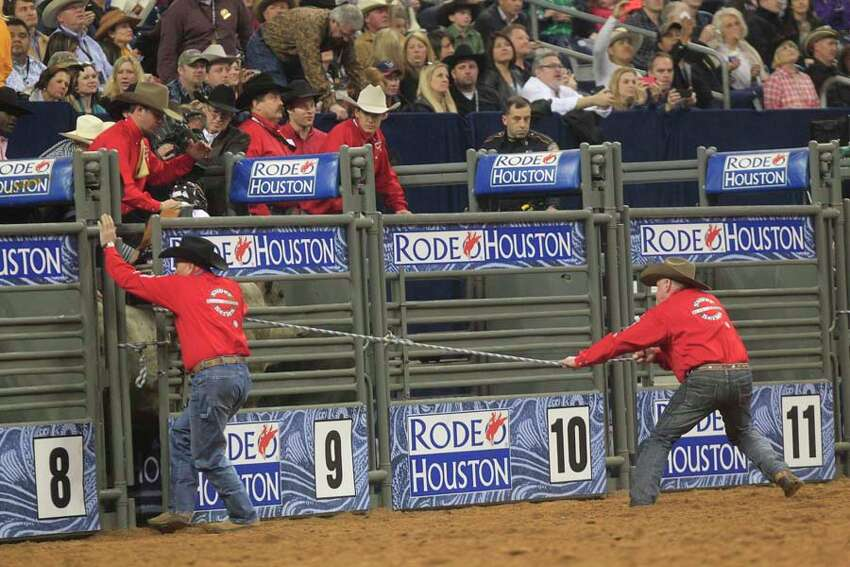Brent Atwood participates in the Bull Riding event during Rodeo Houston at the Houston Livestock Show and Rodeo at Reliant Stadium Thursday, March 6, 2014, in Houston. ( Johnny Hanson / Houston Chronicle )