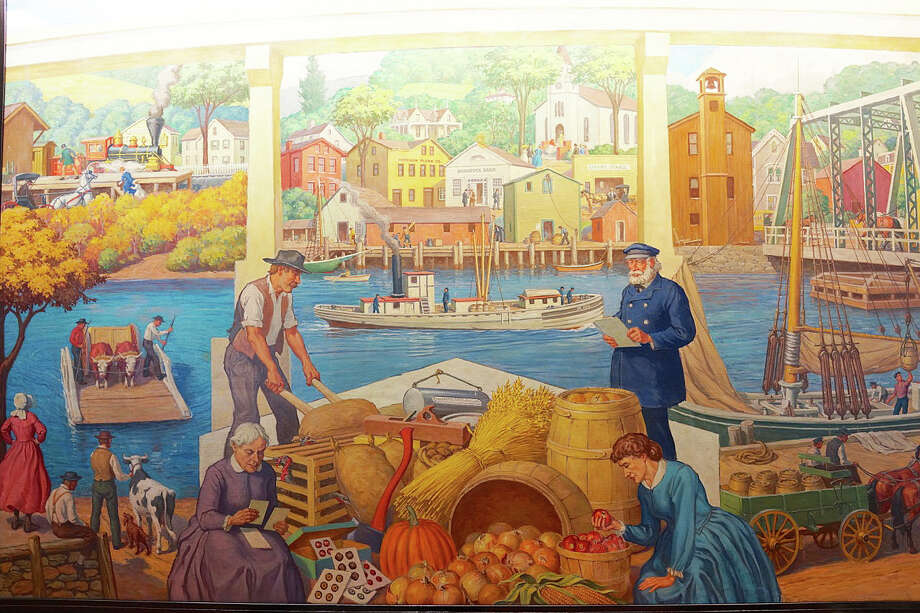 A mural depicting scenes from Saugatuck's history, by Westport artist and illustrator Robert L. Lambdin, has been donated to the town by TD Bank, which has closed the office where the mural was displayed. Photo: Contributed Photo / Westport News